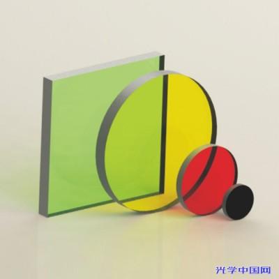联合光科 颜色玻璃长波通滤光片 尺寸Φ12.5~50x50mm 黄色